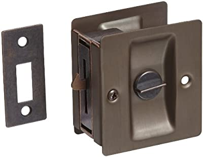 "Rockwood 891.10B Brass Pocket Door Privacy Latch, 2-1/2"" Width x 2-3/4"" Height, Satin Oxidized Oil Rubbed Bronze Finish"