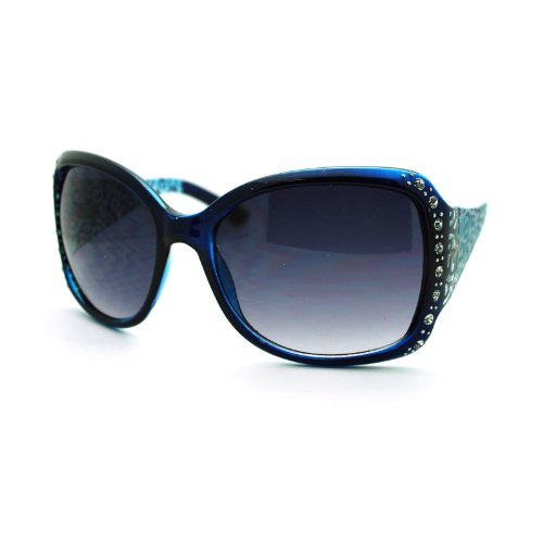 (Womens Rhinestone Oversized Rectangular Butterfly Thick Fashion Sunglasses Blue)