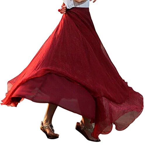 Full Skirt Pleats Skirt - GOTD Giant Swing Full Circle Skirt, Pleat Flowing Maxi Skirt (Watermelon )