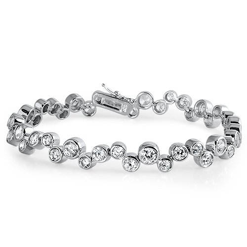 "Bracelet Tennis Femme - Argent Fin 925/1000 - Oxyde de Zirconium ""19 CM"""