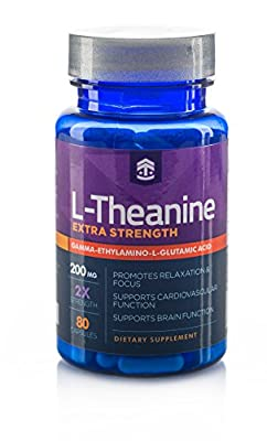 Extra Strength L - Theanine 200mg (80 capsules) Promotes Relaxation and Sleep Support, Made in the USA