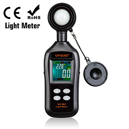 Digital Light Illuminance Meter, UYIGAO Lightmeter Tester,Lux/FC Unit with Data Hold and Backlight,Lux Meter with 0-200,000 Lux and 4-bit Color LCD Display