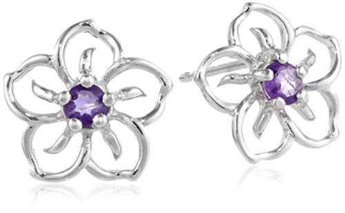 Sterling Silver Genuine African Amethyst Flower Stud Earrings