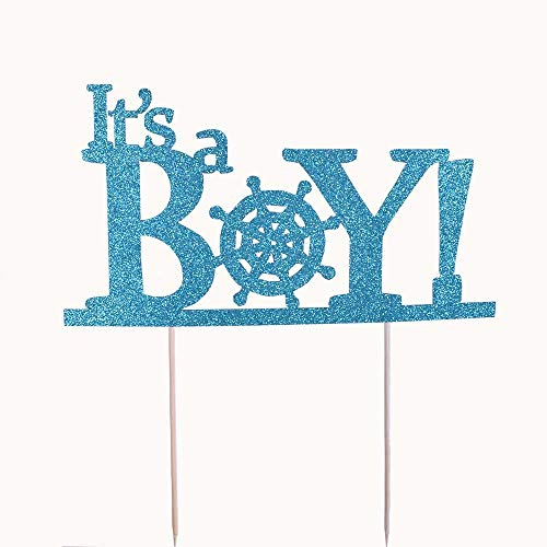 YUINYOHandmade- It's a Boy Cake Topper (Blue) Welcome Baby Boy Cake Topper Baby Shower Cake Toppers Decoration Gender Reveal Party Decorations -