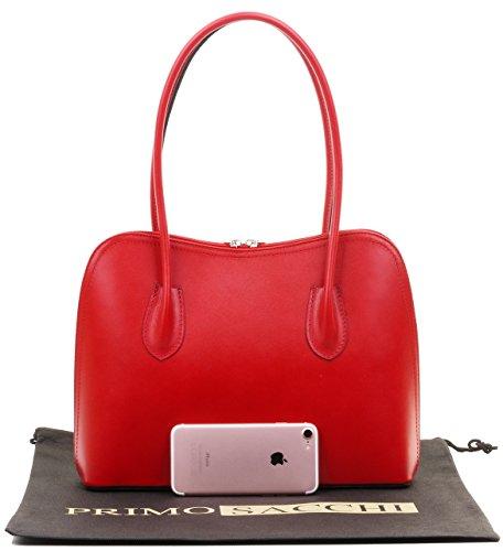 cabas Primo italien Grab classique rangement de long sac un manche Sacchi de main cuir lisse de à protection fait de sac à sac à main marque bandoulière style en Rouge Comprend ou rrawTxF5nq