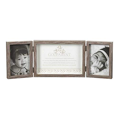 Dicksons Godparent, So Very Grateful Natural Wood 3-Part Hinged Tabletop Photo Frame