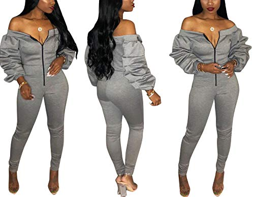 Ophestin Women Sexy Zipper Front Long Sleeve Long Pants Party Jumpsuits Rompers for Women Club Outfits Grey L (Best Club Outfits 2019)