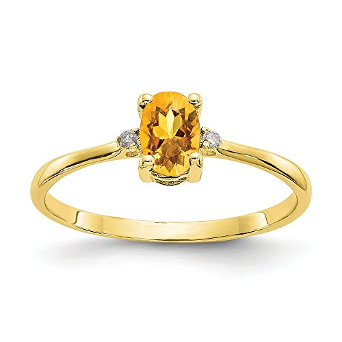 - 10k Yellow Gold Diamond Citrine Birthstone Band Ring Size 6.00 Stone November Oval Fine Jewelry Gifts For Women For Her