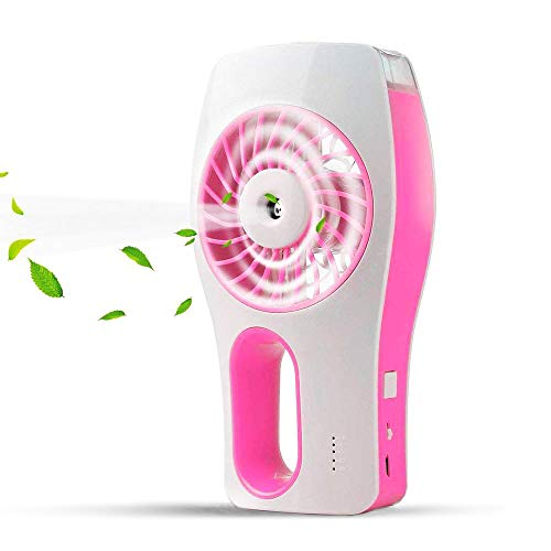 - Allkeys Handheld Misting Fan, Mini USB Rechargeable Battery Operated Misting Fan, Portable Personal Fan with Spray Bottle, Small Water Spray Fan for Office, Home, Dorm, Outdoor and Travel, Pink