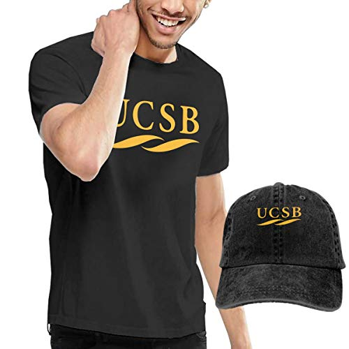 QTHOO University of California Santa Barbara UCSB Logo Men's Short Sleeve T Shirt and Adjustable Sport Outdoor Cotton Denim Hat