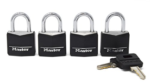 Master Lock Padlock, Covered Aluminum Lock, 1-3/16 in. Wide, Black, 131Q (Pack of 4-Keyed Alike)