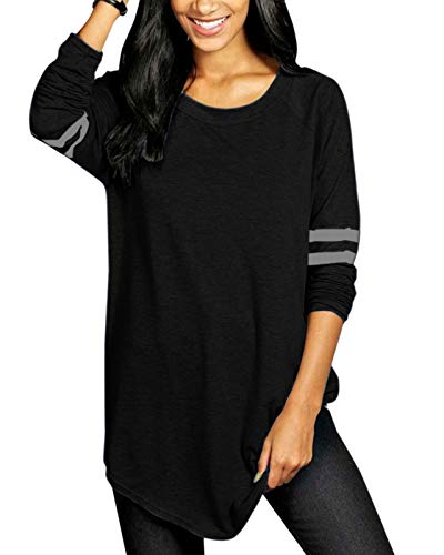 VONDA Womens Long Sleeve T Shirt Ladies Tops Baseball Shirts Crew Neck Top Blouse