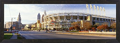Low angle view of baseball stadium, Jacobs Field, Cleveland, Ohio, USA by Panoramic Images Framed Art Print Wall Picture, Espresso Brown Frame, 38 x 14 inches