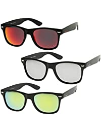 Retro 80's Classic Colored Mirror Lens Square Horn Rimmed...