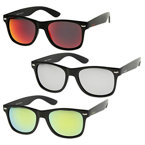 zeroUV - Retro 80's Classic Colored Mirror Lens Square Horn Rimmed Sunglasses for Men Women (3 Pack | Silver + Red + ()