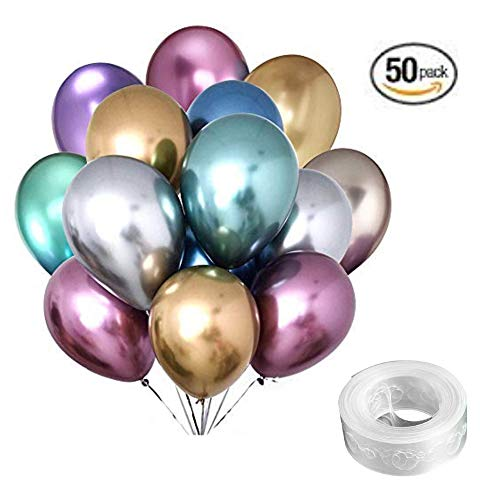 Metallic Latex Party Balloons 50 Count with Decorating Strip Assorted Bulk in Chrome Gold Silver Blue Purple Green Red -