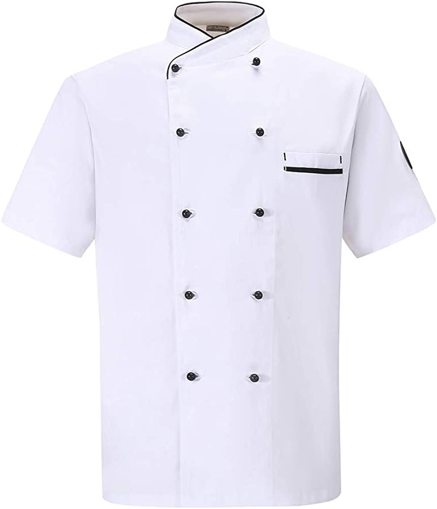 Nanxson Unisexe Veste de Cuisine Professionnelle V/êtement de Chef Hommes Cuisinier Manches Longues Respirante Uniforme de Travail CFM0048
