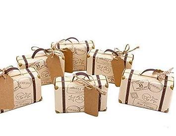 65c0d301fcaa Morinostation 50pcs Mini Suitcase Favor Box Party Favor Candy Box, Vintage  Kraft Paper with Tags...