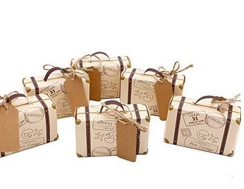Morinostation 50pcs Mini Suitcase Favor Box Party Favor Candy Box, Vintage Kraft Paper with Tags and Burlap Twine for Wedding/Travel Themed Party/Bridal Shower -