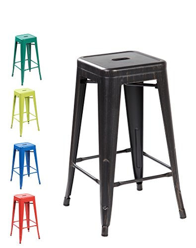 26inch Backless Metal Counter Height Bar Stools Set of 4 Vintage Antique Black Brushing (Seagrass Counter Stools)