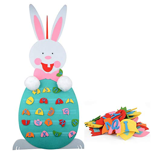 TiTa-Dong Easter Eggs Bunny Decor,Easter Craft Ornament Kids Educational Toy,Felt Detachable Alphabet Matching Puzzle Game for Toddlers Children