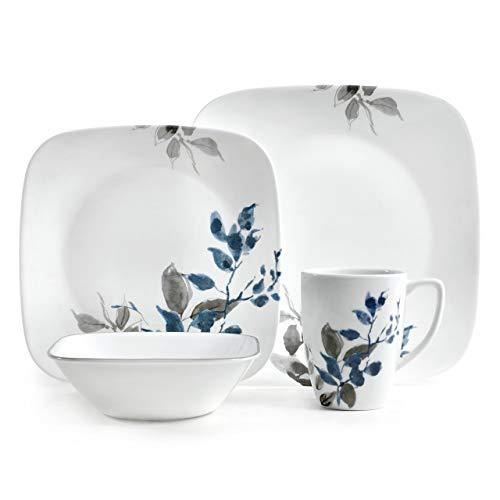 Corelle Kyoto Night Chip & Break Resistant 16pc Dinner Set, Service for 4, Porcelain, Grey & Blue, 16-piece
