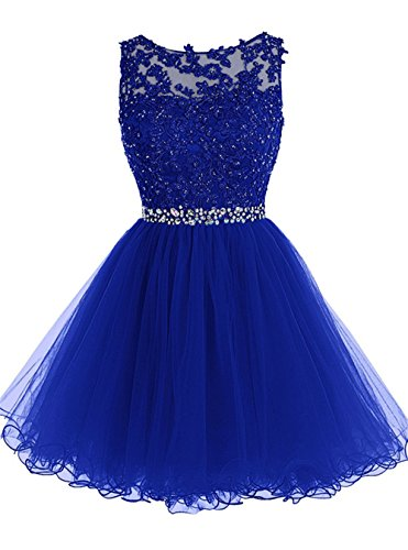 - Junior Girls Short Party Dresses Appliques Beads Tulle Prom Dress Royal Blue 18W
