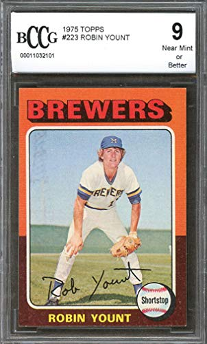 1975 topps #223 ROBIN YOUNT milwaukee brewers rookie card BGS BCCG 9 Graded Card