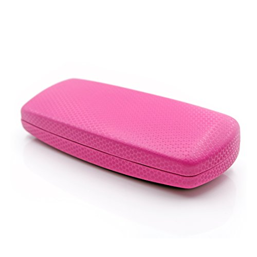 MyEyeglassCase Hard Eyeglass case with Microfiber Cleaning Cloth | for Medium Size Frames | For Men, Women & Teens | Protective Metal Clamshell | AS302 - Pink Case Glasses