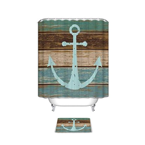 KAROLA Bathroom Set Fabric Shower Curtain with Bath Mats Rugs - Nautical Anchor Rustic Wood by KAROLA (Image #1)