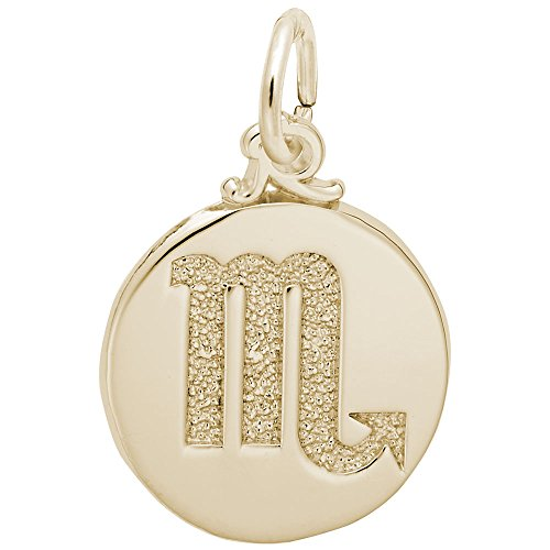 Rembrandt Charms, Scorpio Symbol of the Sky, 22k Yellow Gold Plated Silver, Engravable