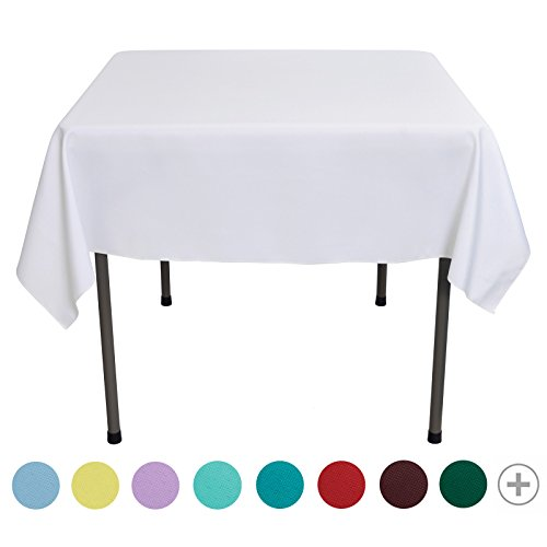 VEEYOO 54 inch Square Solid Polyester Tablecloth for Wedding Restaurant Party Coffee Shop Picnic Christmas, White