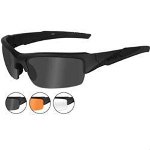 Wiley X Valor Sunglasses (Smoke Grey/Clear/Light Rust Lenses, Matte Black - Wiley Sunglasses
