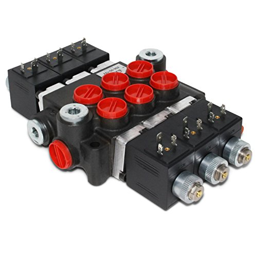 Hydraulic Monoblock Solenoid Directional Control Valve, 3 Spool, 13 GPM, 12V DC ()
