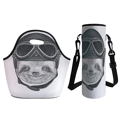 - 3D Print Neoprene lunch Bag with Kit Neoprene Bottle Cover,Sloth,Hand Drawn Portrait of a Sloth with Vintage Helmet Airman Biker Animal in Urban Life Decorative,Grey Black,for Adults Kids