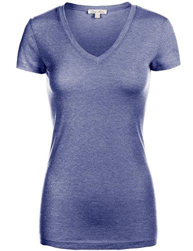 Basic Slim Fitted Short Sleeve Deep V - neck T - Shirt Tops, 093 - Navy, US S