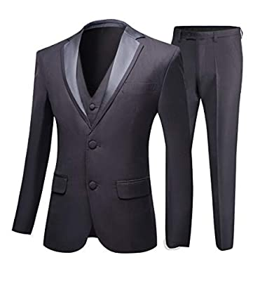 Dark Grey Wedding Suits for Men 3 Pieces Business Men Suits Groom Tuxedos