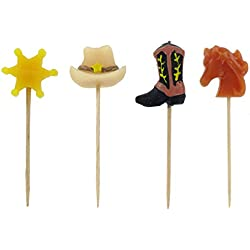 Happy Birthday Cowboy Pick Candles Cake Decoration Party Supplies