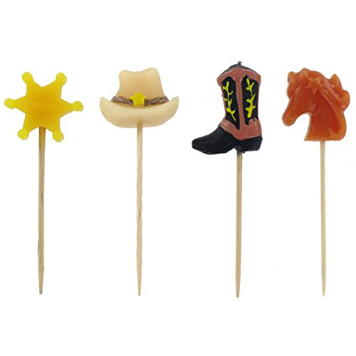 Happy Birthday Cowboy Pick Candles Cake Decoration Party Supplies -