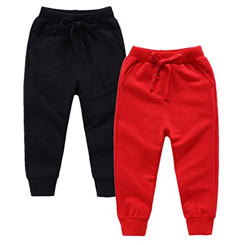 ALALIMINI Toddler Boys Girls Pants Cotton Active Joggers Casual Basic Lightweight Unisex Kids Sweatpants(Black&Red, 90CM/2T)