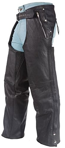 MEN'S MOTORCYCLE BLK LEATHER CHAP WTIH 4 POCKETS REMOVABLE LINER FULL ZIPPER (L ()