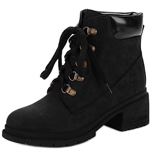 COOLCEPT Damen Mode Mit Absatz Knochel Stiefel Schnurung Black
