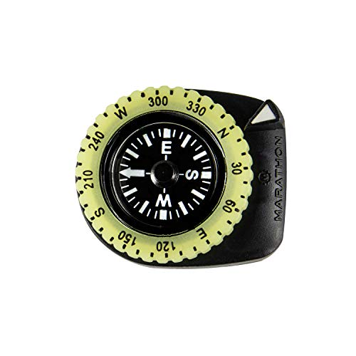 Marathon Watch CO194005BK Clip-On Wrist Compass with Glow in The Dark Bezel. Comes with a 16mm Military Nylon Strap. (Version: Northern Hemisphere) Color- Black. ()