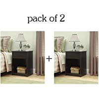 Sleek Design Bedroom Nightstand/End Table, Ebony Black (2)