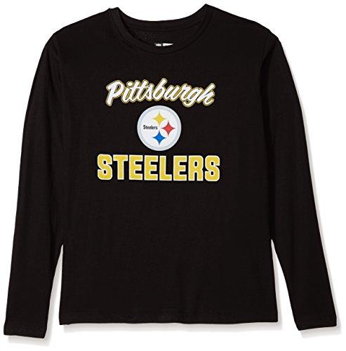 Scoop L/s Tee - NFL Pittsburgh Steelers Women L/S SCOOP NECK TEE, BLACK, 2X
