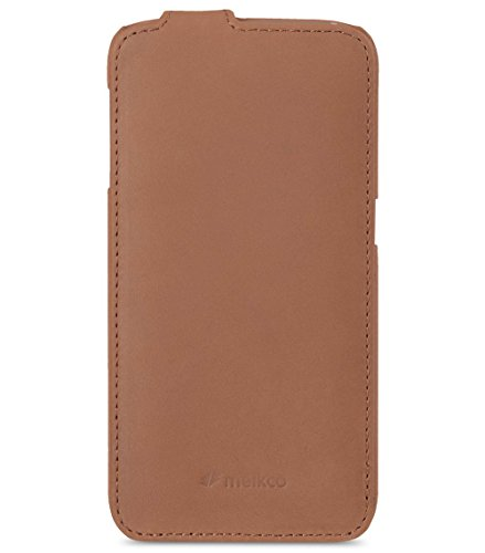 Edle funda/case exterior de piel revestido/Cover Interior de textil/Protección de Móvil Plegable/Ultra-Slim de/Flip Case Braun - vintage