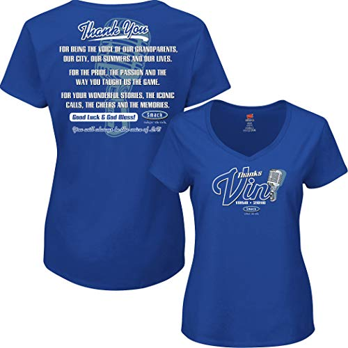 Smack Apparel Los Angeles Baseball Fans. Vin Scully Tribute. Blue Ladies Shirt (Sm-2x) (V-Neck, Medium)
