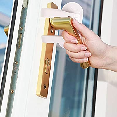 THREEMAO 2 Pack Door Lever Lock Child Safety Handles Child Proof Doors 3M Adhesive