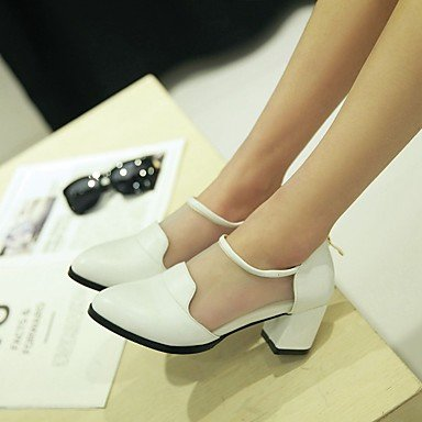 039 UE38 5 UK5 confort CN38 mujeres Negro primavera 5 PU sandalias informal Las FlatWhiteUS7 s Confort Blanco Zw57xnwPqU