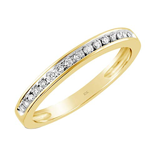 - Brilliant Expressions 10K Yellow Gold 1/8 Cttw Conflict Free Diamond Channel-Set Anniversary or Wedding Band (I-J Color, I2-I3 Clarity), Size 7